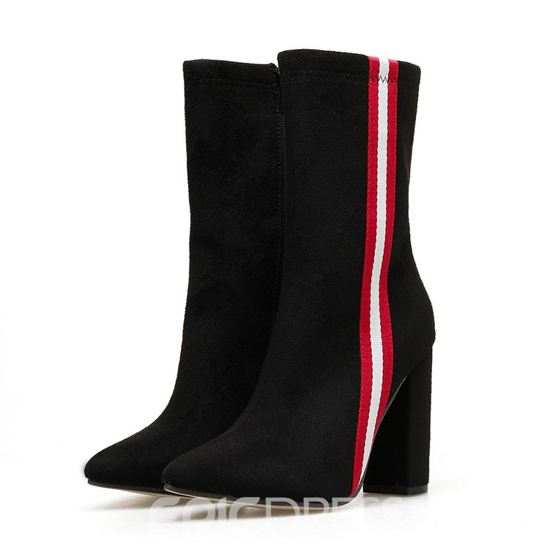 Ericdress Chunky Heel Color Block Side Zipper Women's Boots