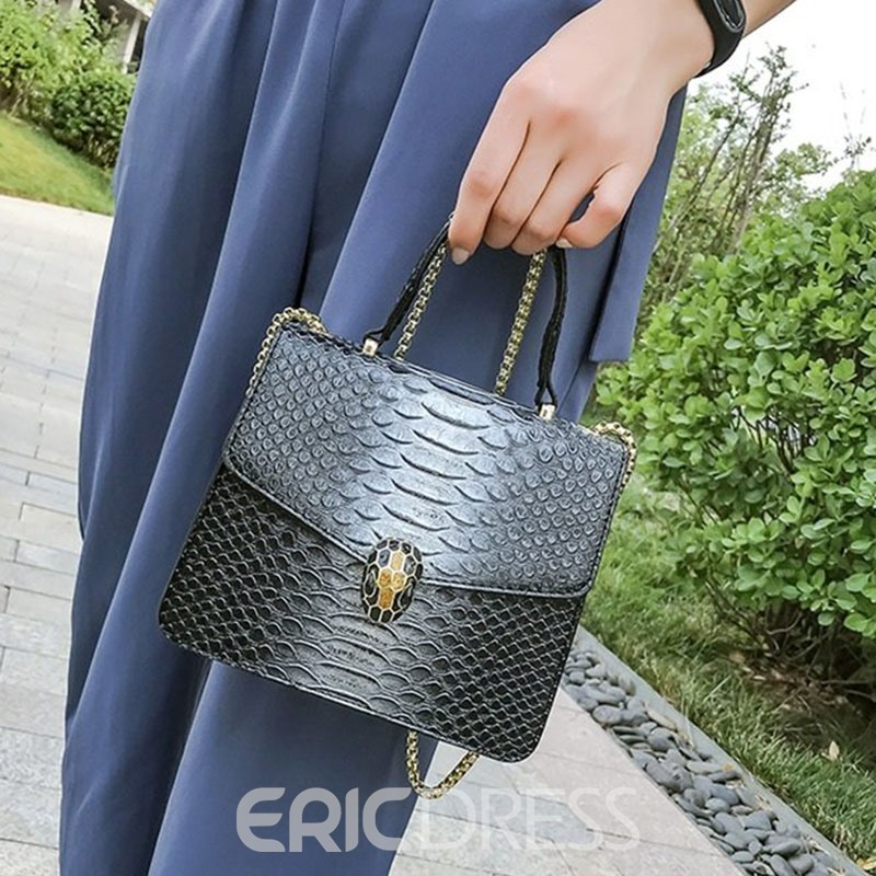 Ericdress PU Serpentine Chain Rectangle Tote Bags