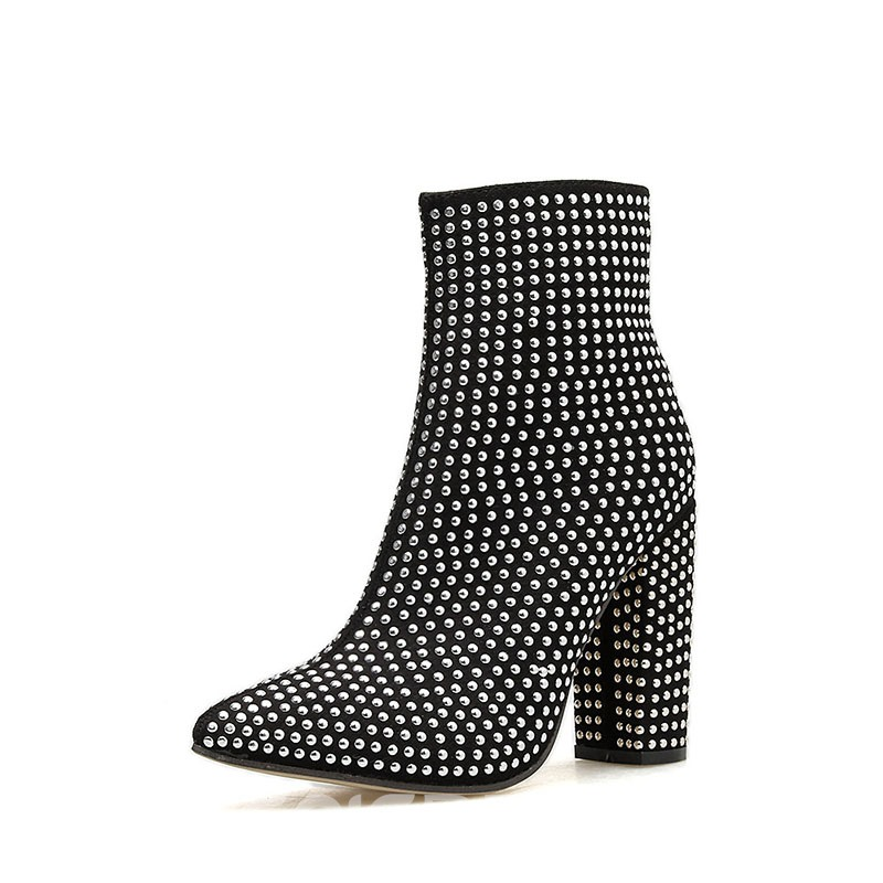 Ericdress Rivet Pointed Toe Side Zipper Chunky Heel Women's Ankle Boots