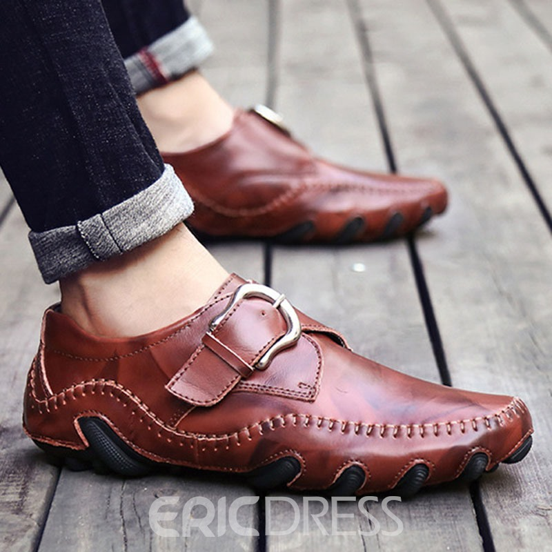 Ericdress Plain Low-Cut Upper Buckle Round Toe Men's Work Shoes