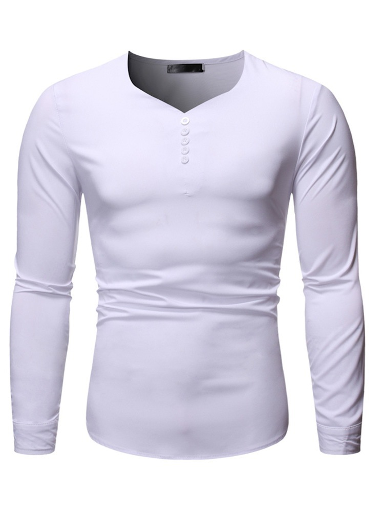 Ericdress Plain Fashion Button Men's Slim Shirt