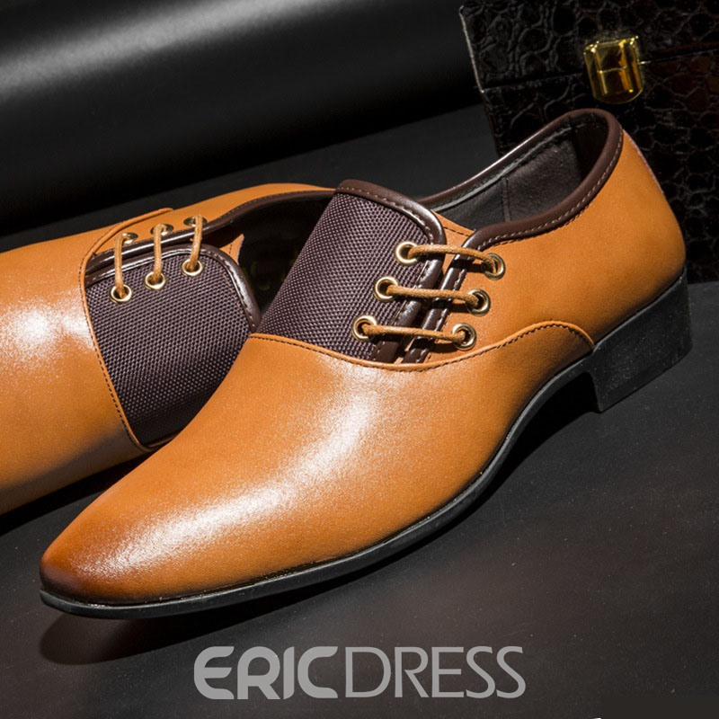Ericdress Patchwork Pointed Toe Low-Cut Upper Men's Dress Shoes