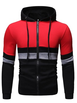 Ericdress Color Block Pocket Regular Men's Zipper Hoodies