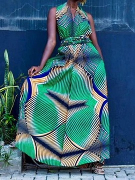 Ericdress African Fashion Dashiki Zipper Full Length Loose Wide Legs Jumpsuit