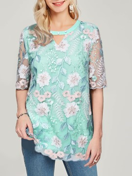 Ericdress Round Neck Bead Floral Half Sleeve Mid-Length T-shirts