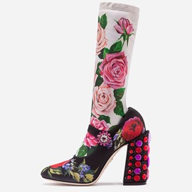 Ericdress Floral Chunky Heel Round Toe Slip-On Women's Calf High Boots