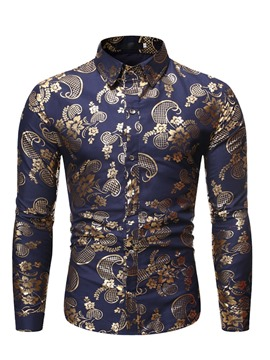Ericdress Casual Floral Lapel Print Men's Slim Shirt