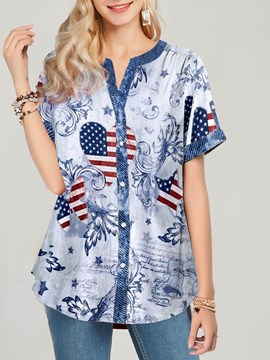 Ericdress Print Stripe Mid-Length Short Sleeve Blouse