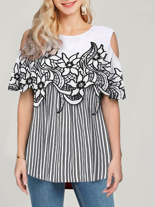Ericdress Striped Appliques Round Neck Mid-Length Short Sleeve Blouse