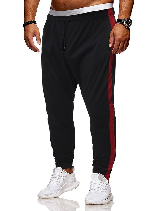 Ericdress Lace-Up Color Block Sports Men's Casual Pants