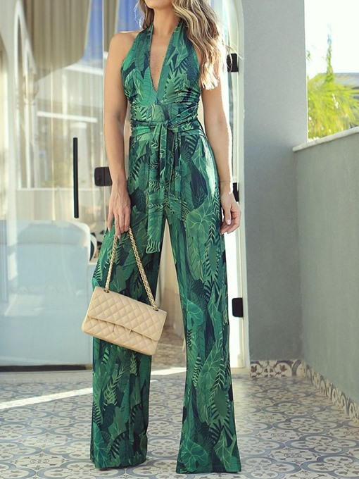 Ericdress Fashion Floral Print Full Length Loose Jumpsuit