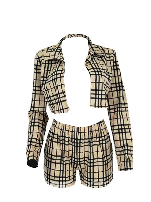 Ericdress Plaid Print Straight Wrapped Lapel Two Piece Sets