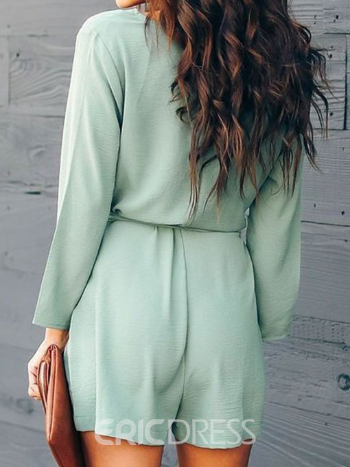 Ericdress Fashion Plain Lace-Up Loose Romper