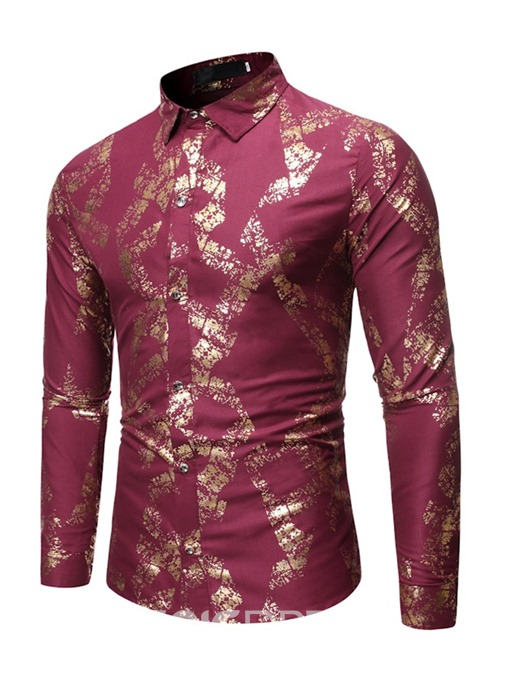 Ericdress Print Lapel Casual Men's Single-Breasted Shirt