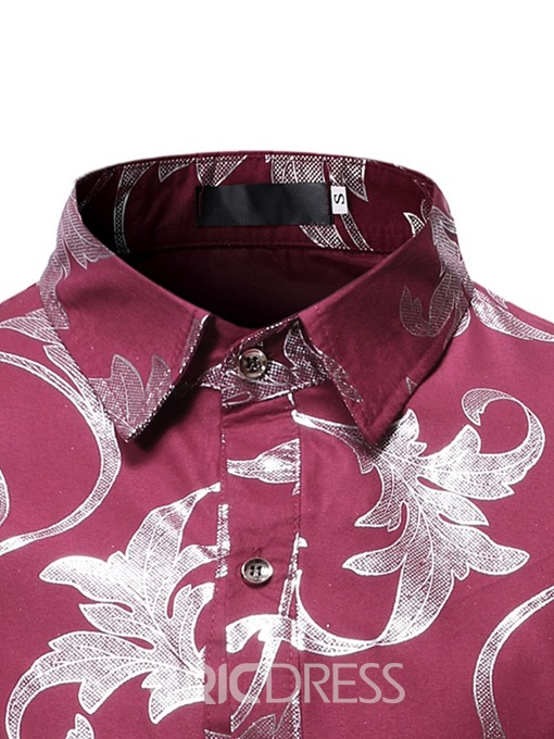 Ericdress Lapel Print Casual Single-Breasted Men's Slim Shirt