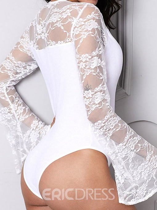 Ericdress Floral Shorts Lace Skinny Bodysuit