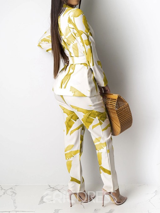 Ericdress Print Fashion Notched Lapel Lace-Up Two Piece Sets
