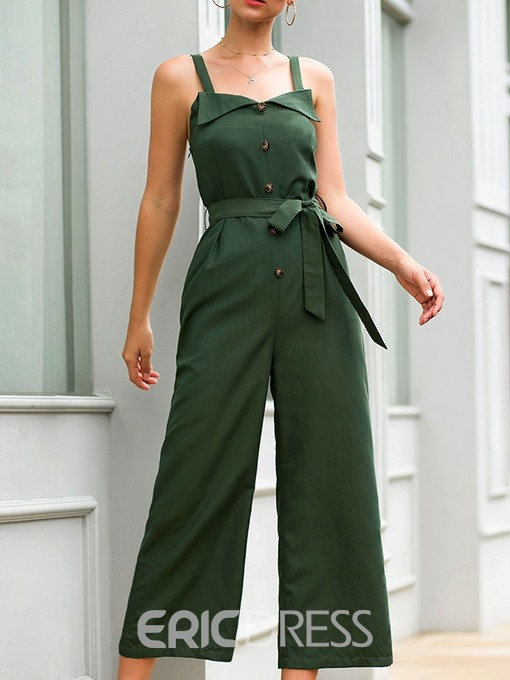 Ericdress Button Mid-Calf Strap Loose Jumpsuit