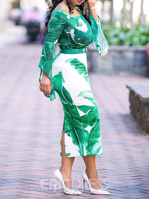 Ericdress Print Off Shoulder Long Sleeve Plant Bodycon Dress(Without Waistband)