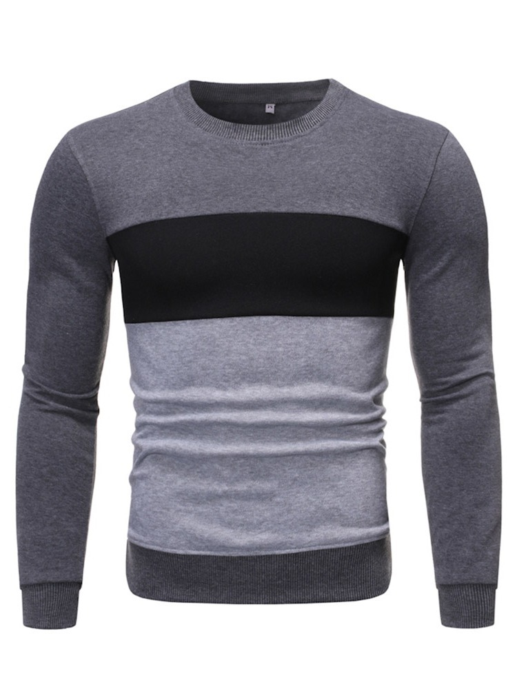Ericdress Regular Pullover Color Block Men's Round Neck Hoodies