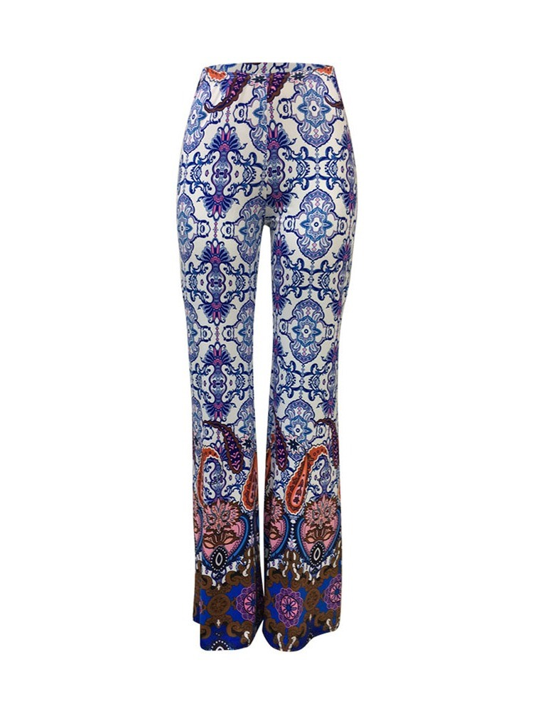 Ericdress Print Slim Floral Bellbottoms Full Length Casual Pants
