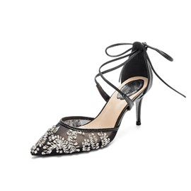 ericdress talon aiguille en strass bout pointu chaussures occidentales minces