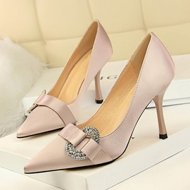 Ericdress PU Rhinestone Pointed Toe Stiletto Heel Women's Pumps