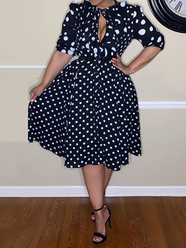 Ericdress Polka Dots A-Line Three-Quarter Sleeve Mid-Calf Print Standard-Waist Dress