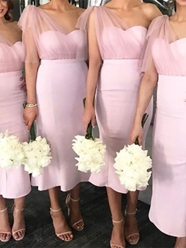 Ericdress Tea-Length Sleeveless One Shoulder Bridesmaid Dress