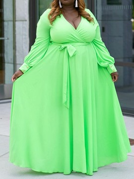 Ericdress Plus Size Expansion Lantern Sleeve V-Neck Floor-Length Plain A-Line GreenDress