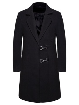 Ericdress Pocket Notched Lapel Single-Breasted Men's Slim Coat