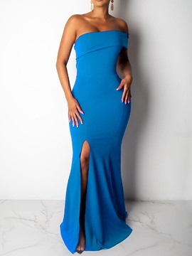 Ericdress Off Shoulder Split Floor-Length Bodycon Ladylike Dress