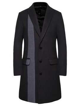 Ericdress Patchwork Color Block Long Men's Single-Breasted Coat