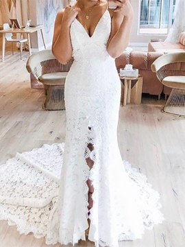 Ericdress Sleeveless Spaghetti Straps Mermaid Wedding Dress 2020