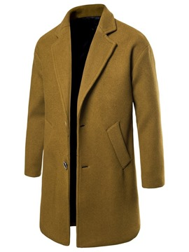 Ericdress Notched Lapel Long Plain Men's Slim Coat