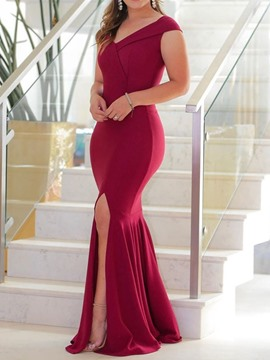 Ericdress Floor-Length Cap Sleeve Split Pullover High Waist Mermaid Dress