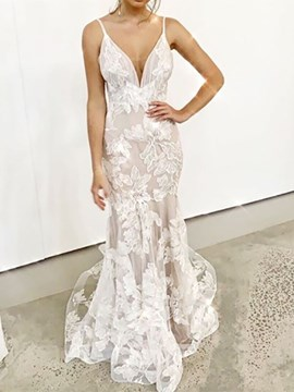 Ericdress Appliques Mermaid Spaghetti Straps Beach Wedding Dress 2020