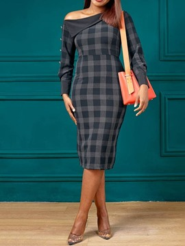 Ericdress Plaid Bodycon OL Oblique Shoulder Mid-Calf Long Sleeve Split Dress