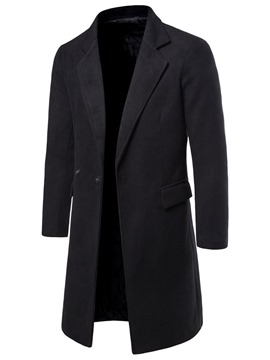 Ericdress Notched Lapel Plain Long Men's Slim Coat