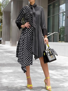 Ericdress Asymmetrical Bow Collar Polka Dots Standard-Waist Casual Dress