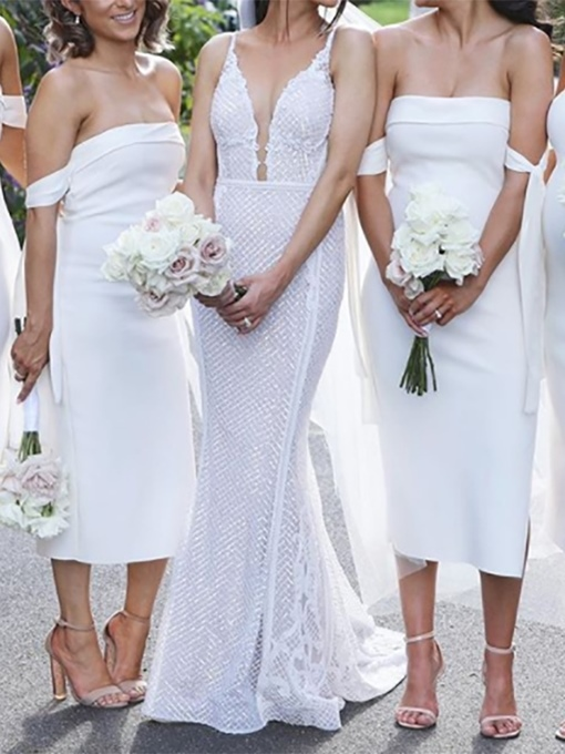 Ericdress Column Strapless Tea-Length White Bridesmaid Dress 2019
