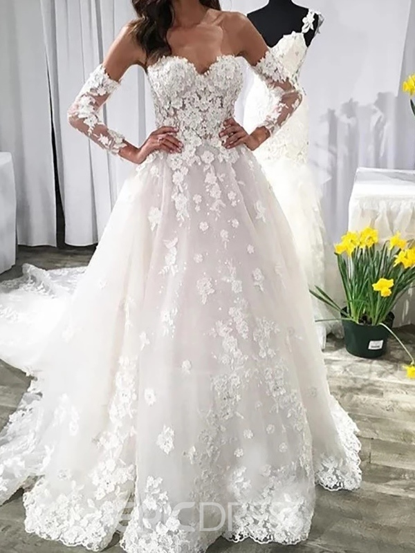Ericdress Court A-Line Appliques Hall Wedding Dress 2020