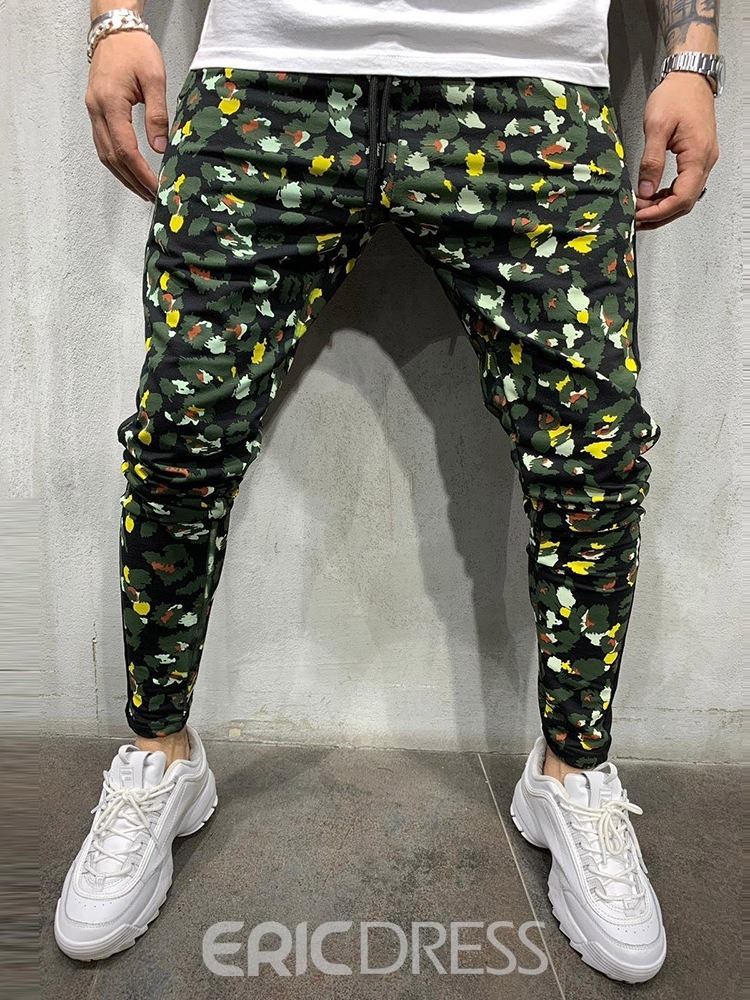 Ericdress Lace-Up Camouflage Men's Casual Jeans