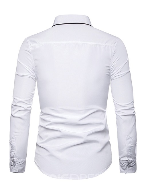 Ericdress Button Fashion Color Block Slim Men's Single-Breasted Shirt