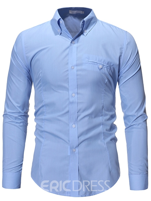 Ericdress Lapel Button Casual Men's Slim Shirt