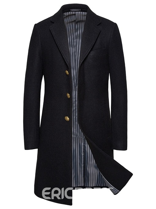Ericdress Long Plain Button Men's Slim Coat