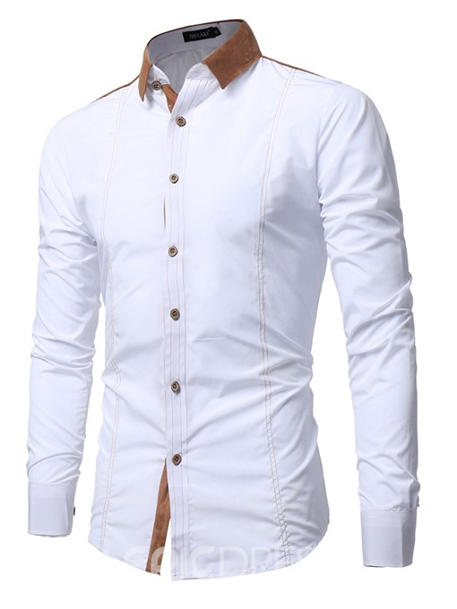 Ericdress Patchwork Casual Color Block Men's Single-Breasted Shirt