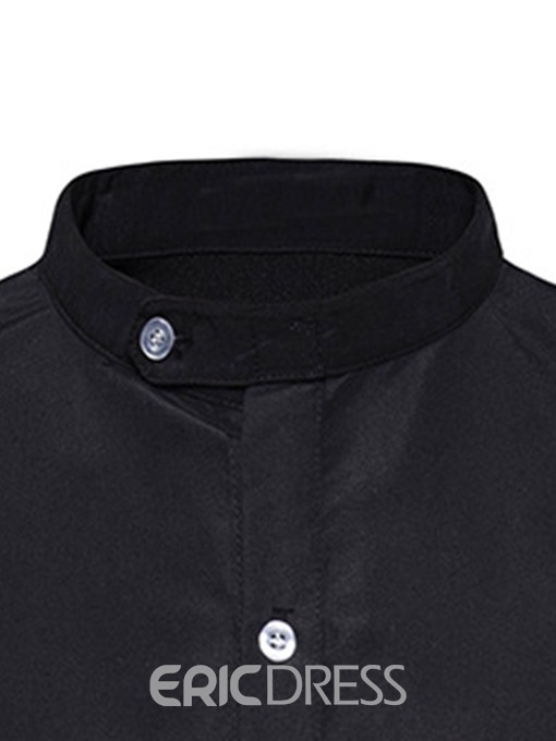 Ericdress Button Stand Collar Color Block Single-Breasted Men's Loose Shirt