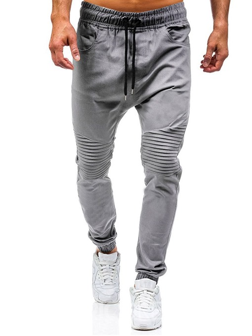 Ericdress Plain Harem Pleated Casual Men's Lace-Up Jeans