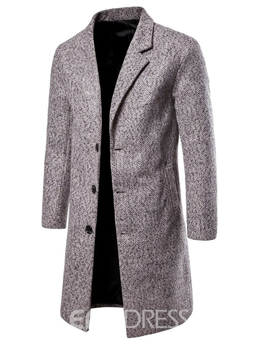 Ericdress Long Plain Notched Lapel Men's Slim Coat